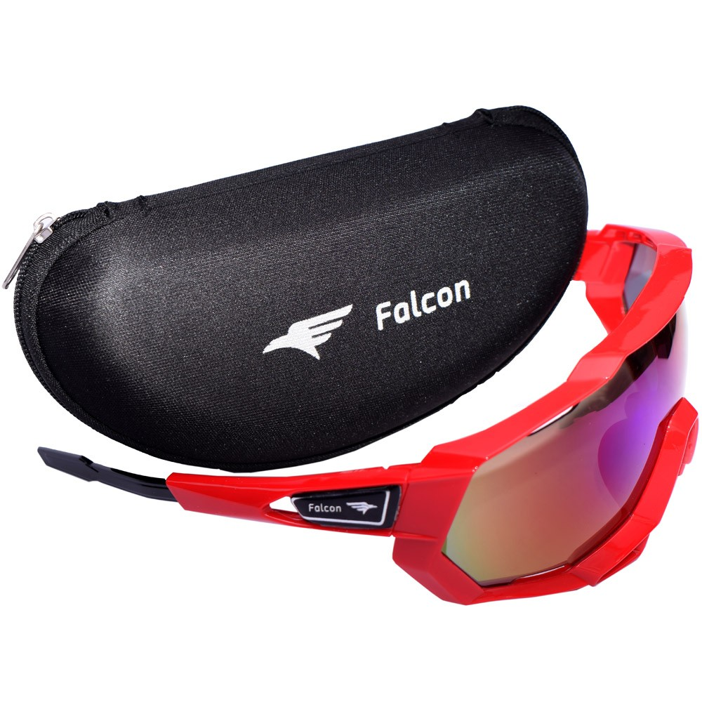 Óculos Ciclismo Bike Falcon Elite Lente Espelhada Vermelho