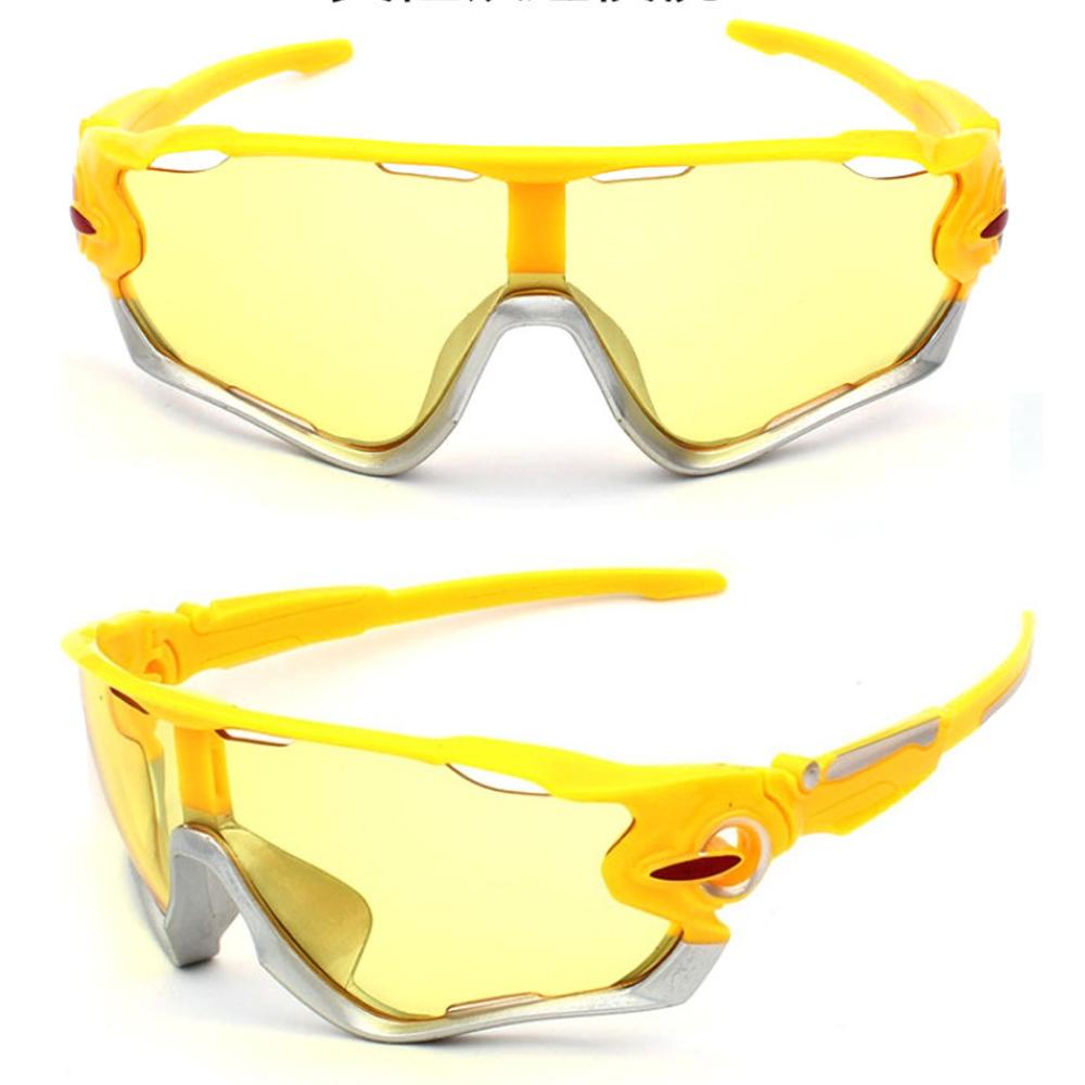Óculos Esportivo Uv400 Ciclismo Amarelo/Cinza Lente Noturna