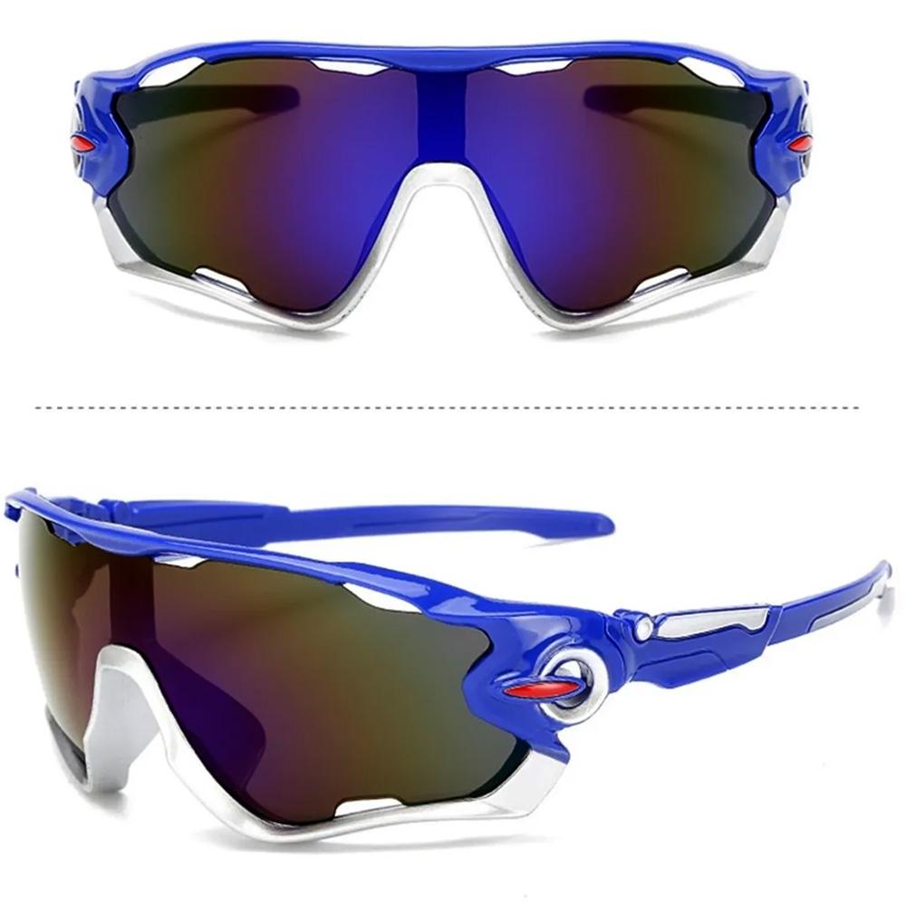 Óculos Esportivo Uv400 Ciclismo Azul/Cinza Lente Espelhada