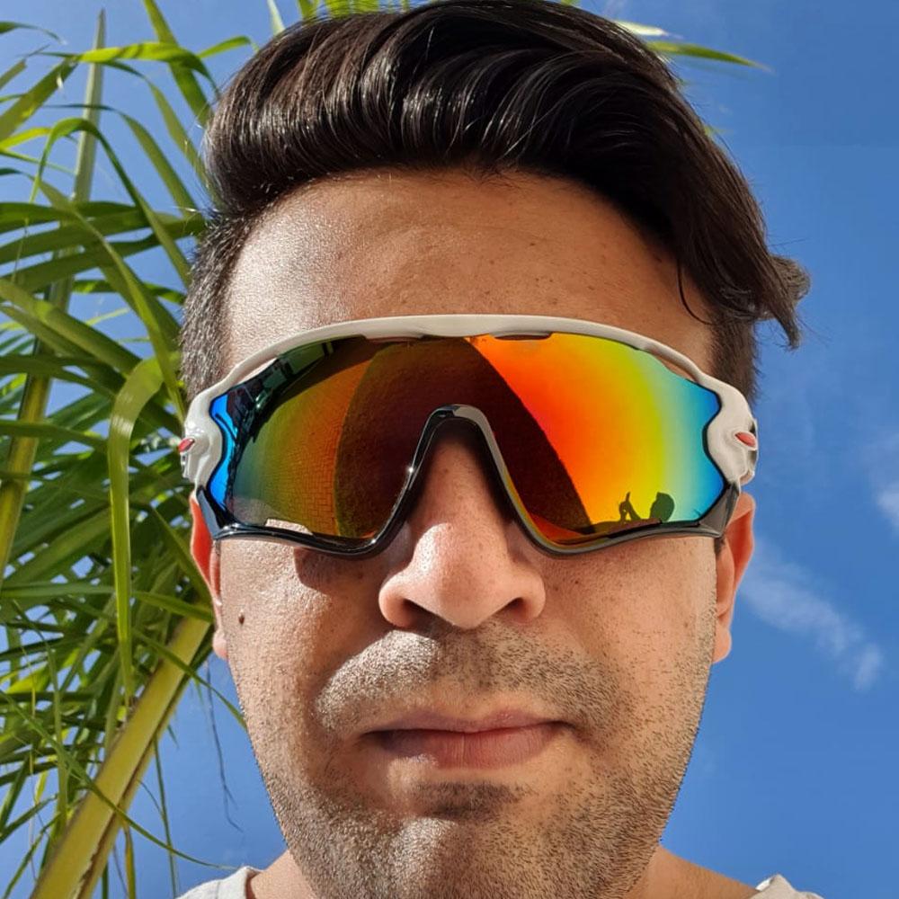 Óculos Esportivo Uv400 Ciclismo Branco e Preto Lente Espelhada