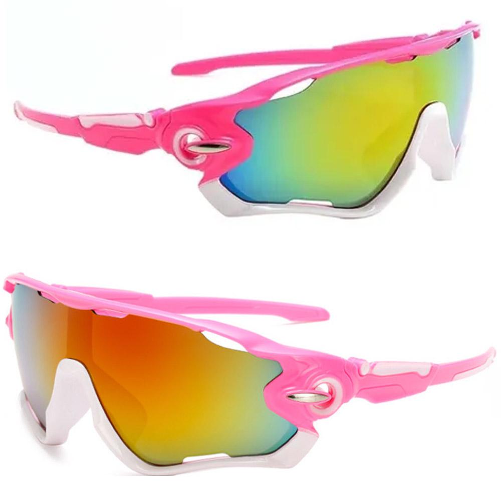 Óculos Esportivo Uv400 Ciclismo Rosa e Branco Lente Espelhada