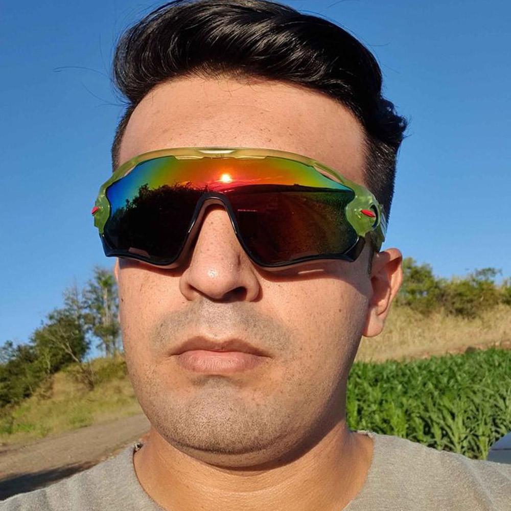 Óculos Esportivo Uv400 Ciclismo Verde e Preto Lente Espelhada