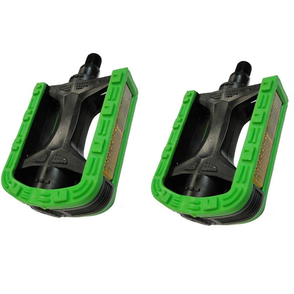 Pedal Nylon Rosca Fina 1/2 Bicolor Metalciclo Preto e Verde
