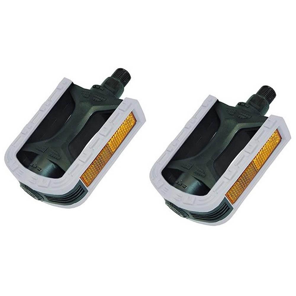 Pedal Nylon Rosca Grossa 9/16 Bicolor Metalciclo Preto e Branco