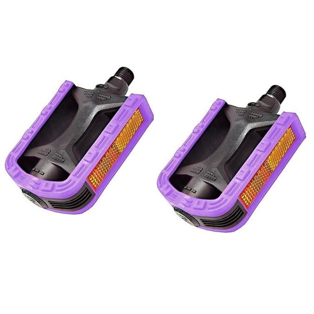 Pedal Nylon Rosca Grossa 9/16 Bicolor Metalciclo Preto e Lilas