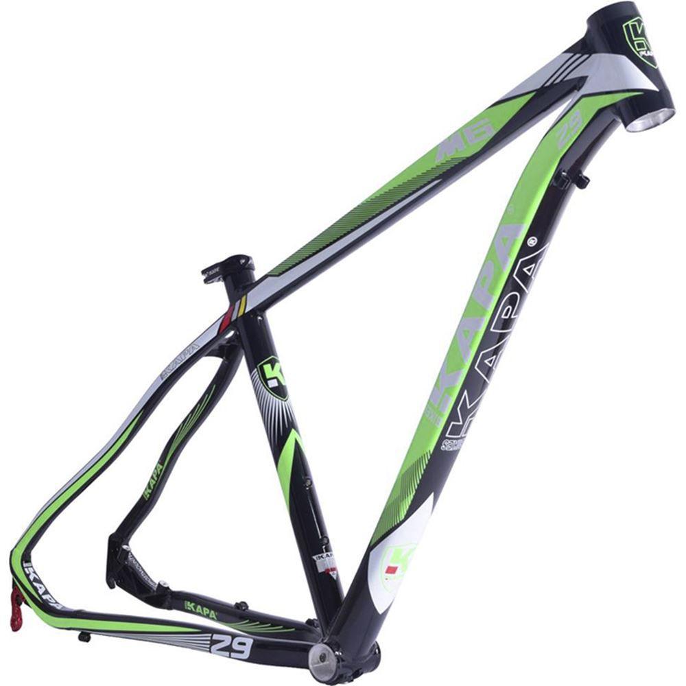 Quadro Bike Aro 29 Mtb Kapa M6 Preto/Verde Tam 17,5