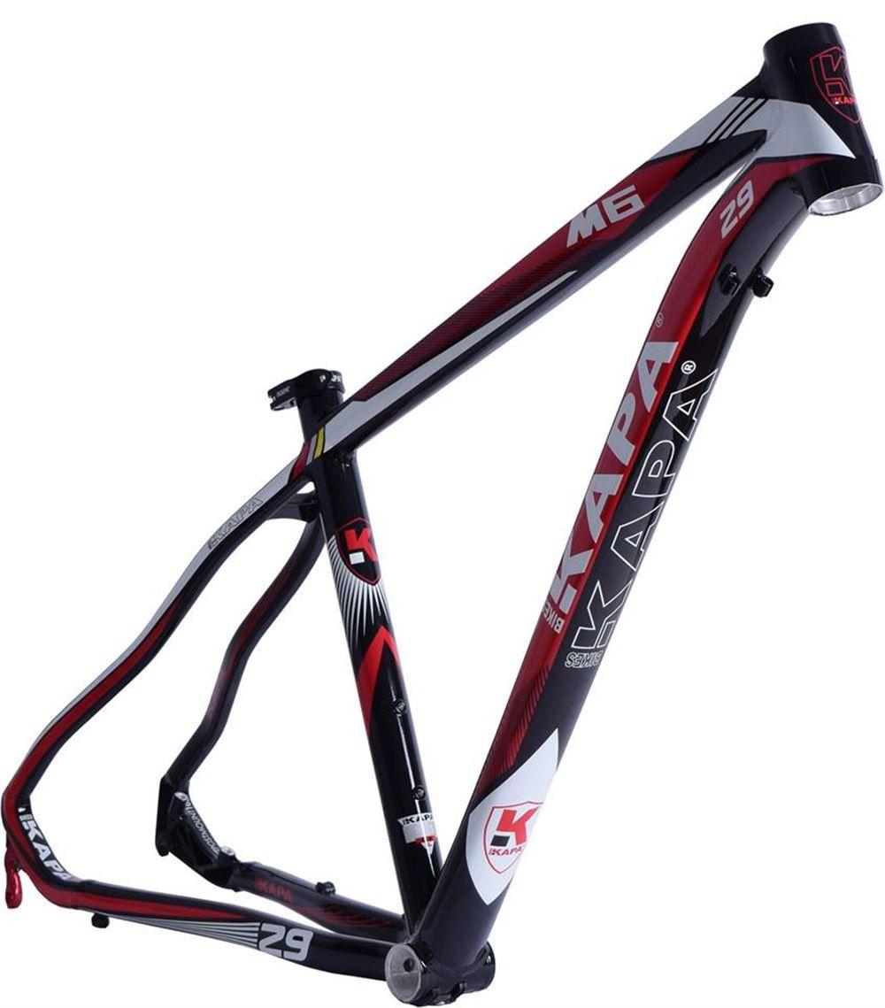 Quadro Bike Aro 29 Mtb Kapa M6 Preto/Vermelho Tam 17,5