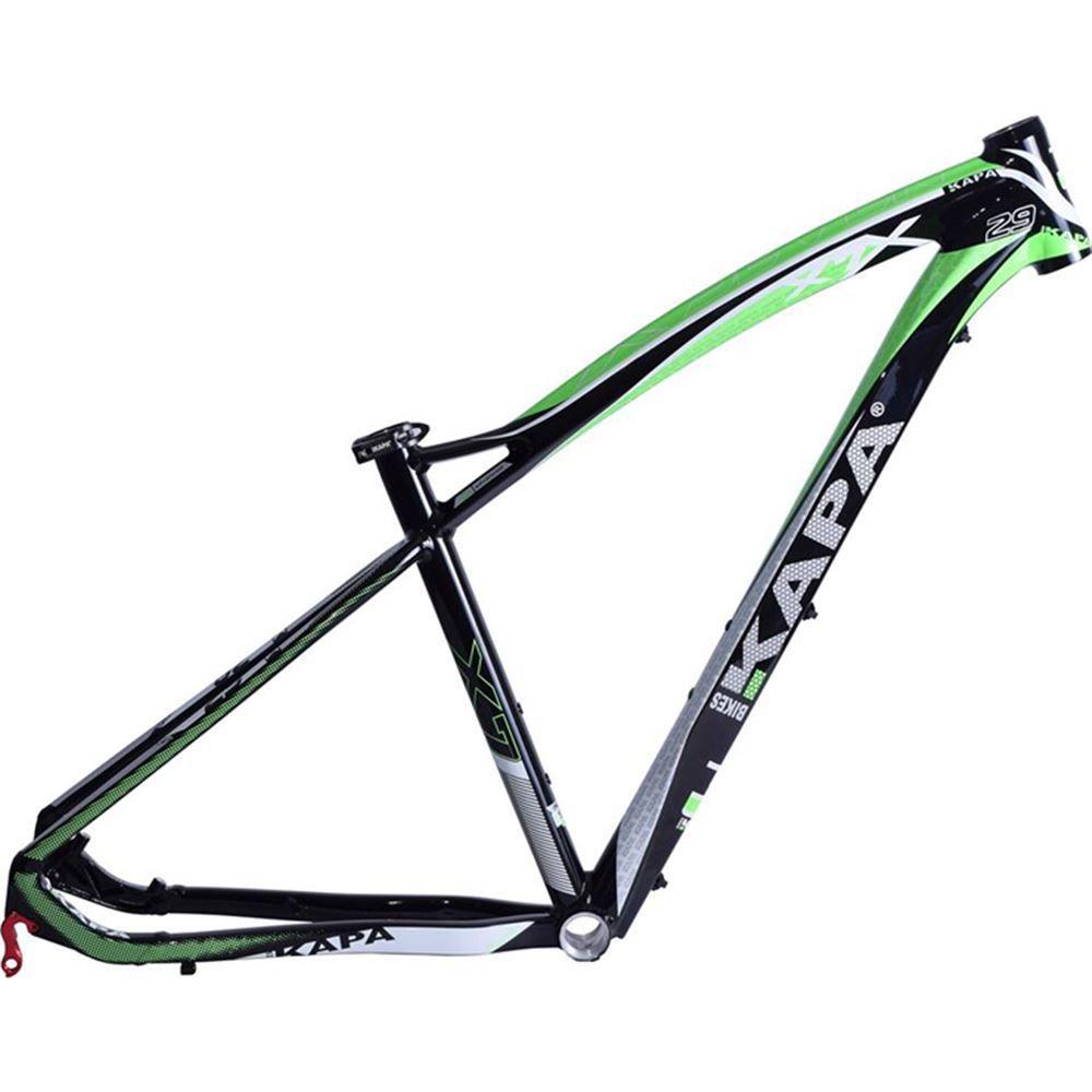Quadro Bike Aro 29 Mtb Kapa X7 Preto/Verde Tam 17,5