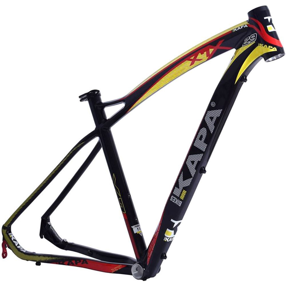 Quadro Bike Aro 29 Mtb Kapa X7 Pto/Amarelo Tam 17,5