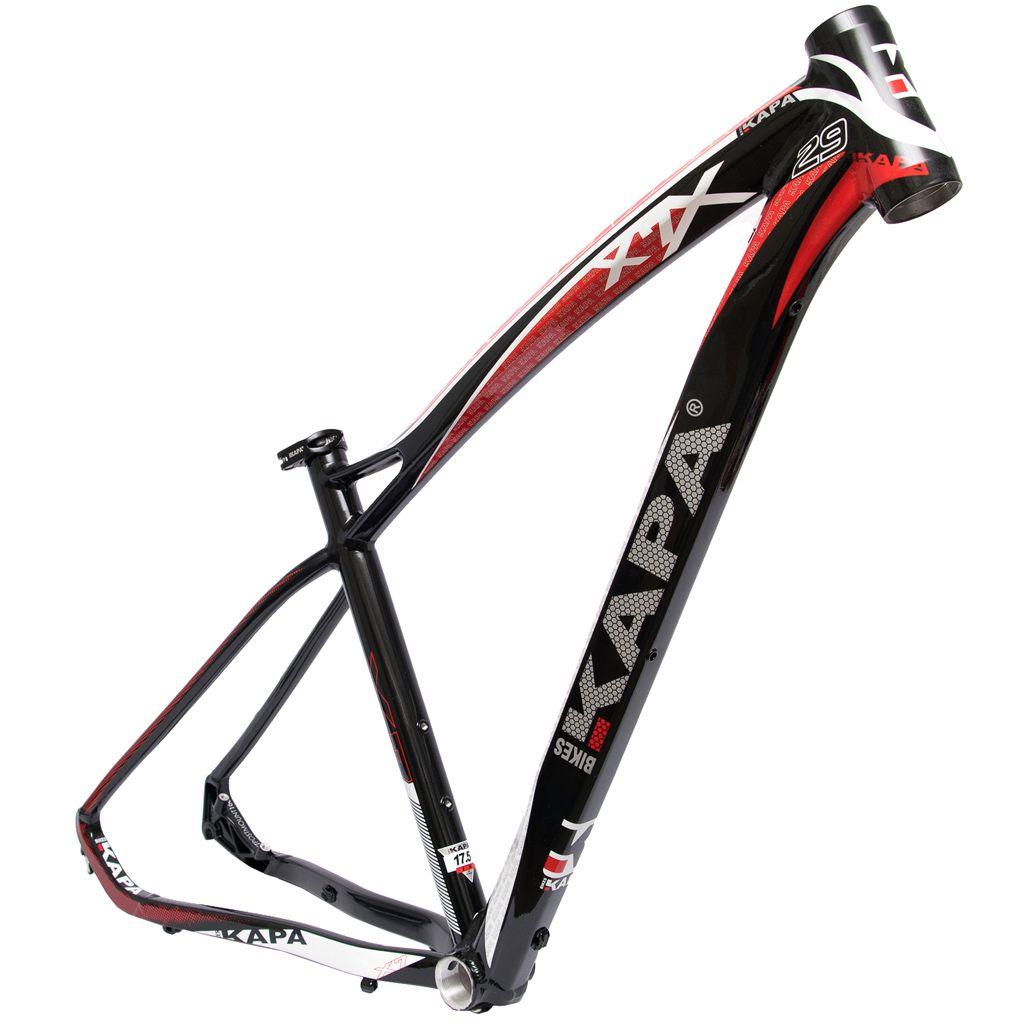 Quadro Bike Aro 29 Mtb Kapa X7 Pto/Vermelho/Branco Tam 17,5
