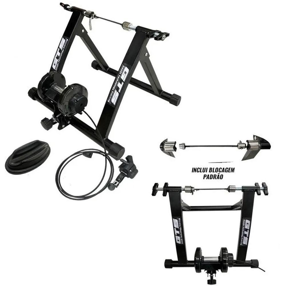 Rolo Treino GTS Bicicleta Magnético Regulagem Guidão Preto