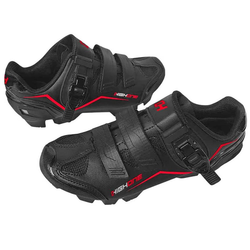 Sapatilha Ciclismo High One MTB Feet Trava/Velcro Preto e Vermelho