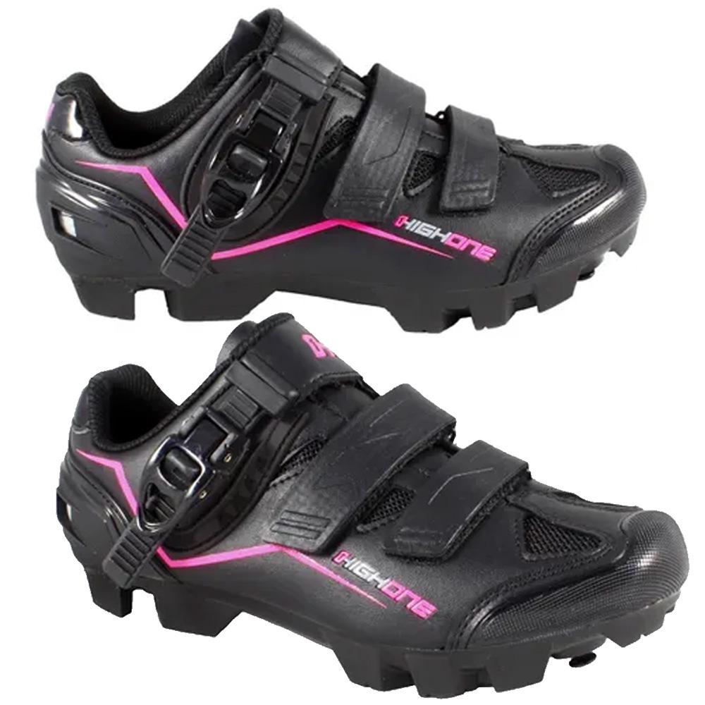 Sapatilha Ciclismo High One MTB Feet Catraca e Velcro 43 EUR Preto e Rosa