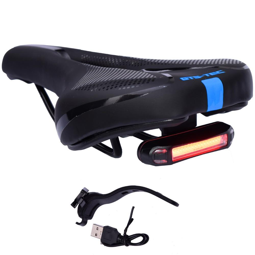Selim de Bicicleta Vazado GTS TEC Preto e Azul Com LED USB