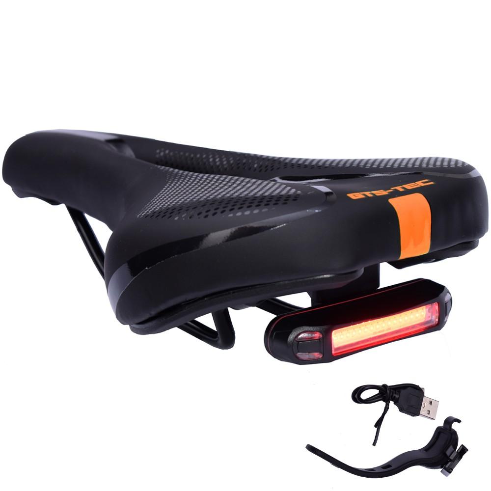 Selim de Bicicleta Vazado GTS TEC Preto e Laranja com LED USB