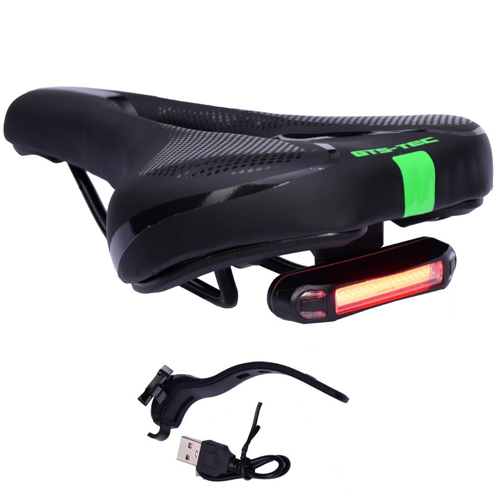 Selim de Bicicleta Vazado GTS TEC Preto e Verde Com LED USB