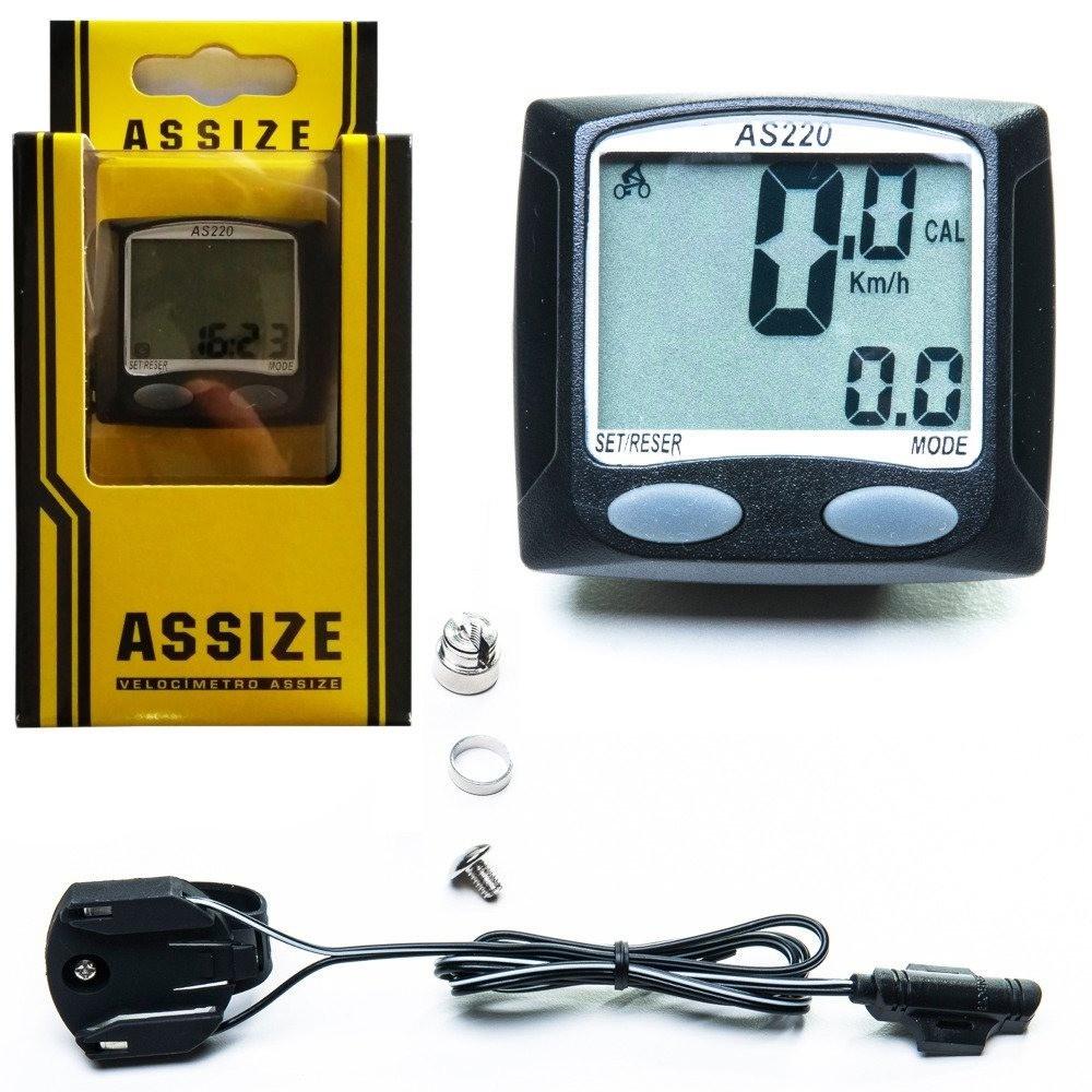 Velocímetro Ciclocomputador Assize AS220 Preto com Fio