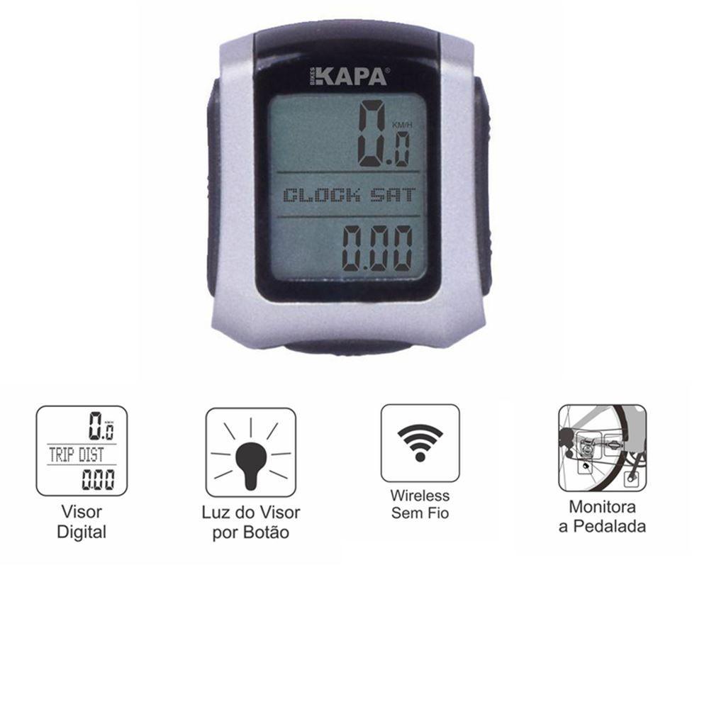 Ciclocomputador Kapa Bikes Wireless  Sem fio 25 Funções