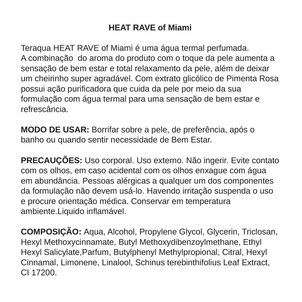 Água Termal Perfumada HEAT RAVE of Miami