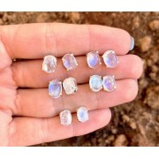 Brinco de Prata Cristal Pedra da Lua Natural