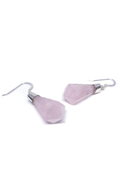 Brinco de Prata Cristal Quartzo Rosa Grande