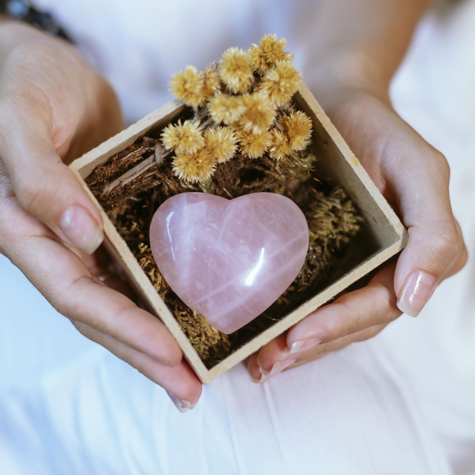 Coração Quartzo Rosa Dia das Mães
