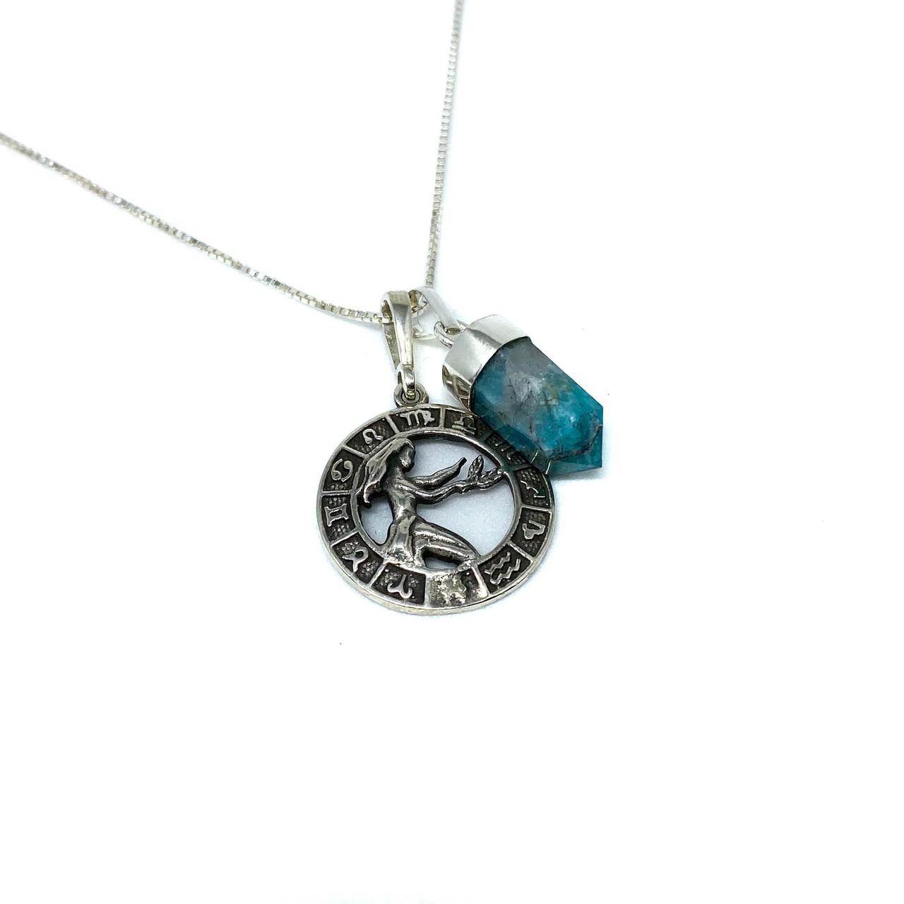 Pedra do signo de Virgem: colar com pingente de amazonita + medalhinha
