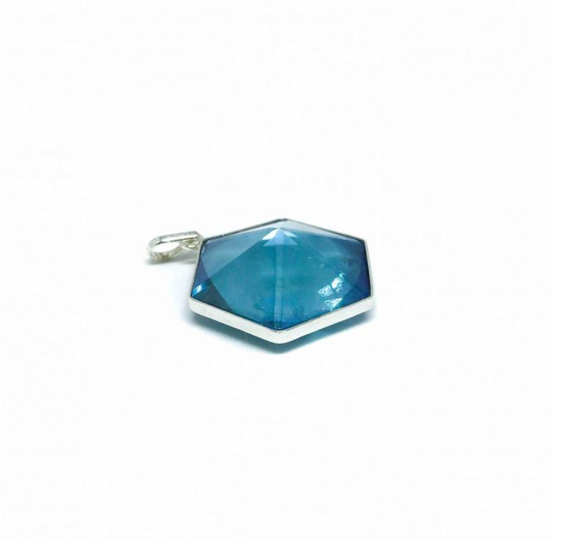 Pingente de Prata Cristal Aqua Aura Puro Hexagono