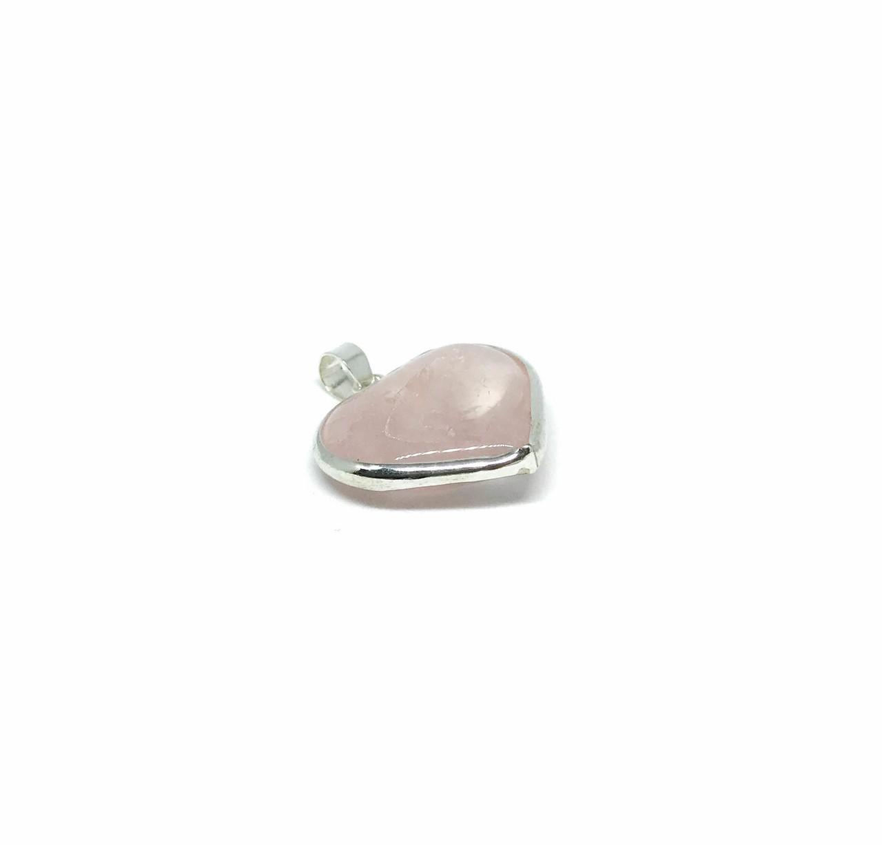 Pingente de Prata Cristal Quartzo Rosa Puro Coração