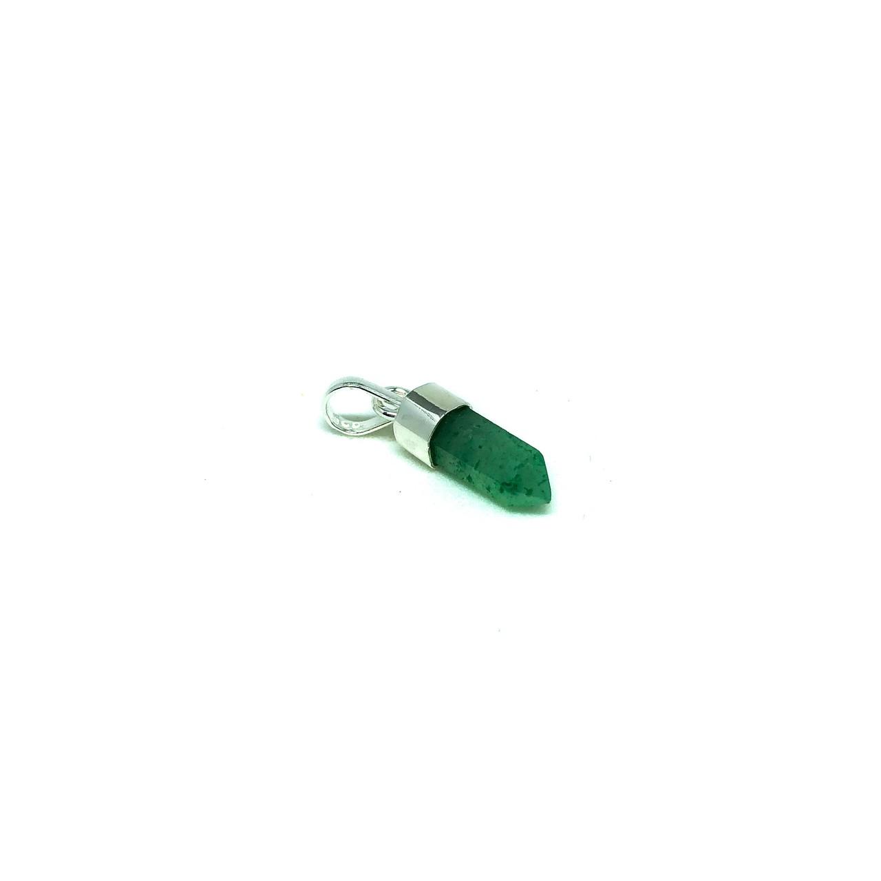 Pingente de Prata Mini Ponta Quartzo Verde