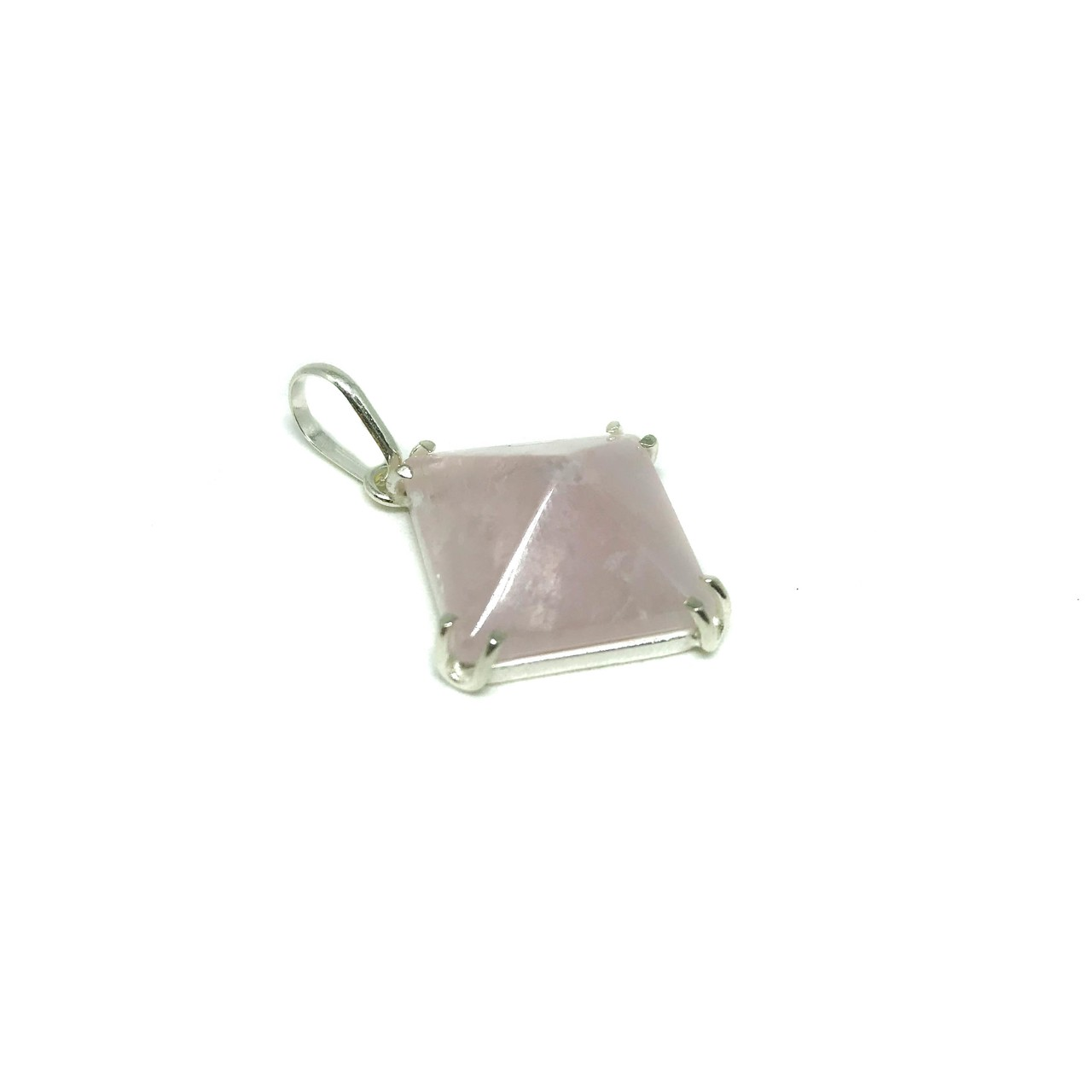Pingente de Prata Pirâmide Quartzo Rosa