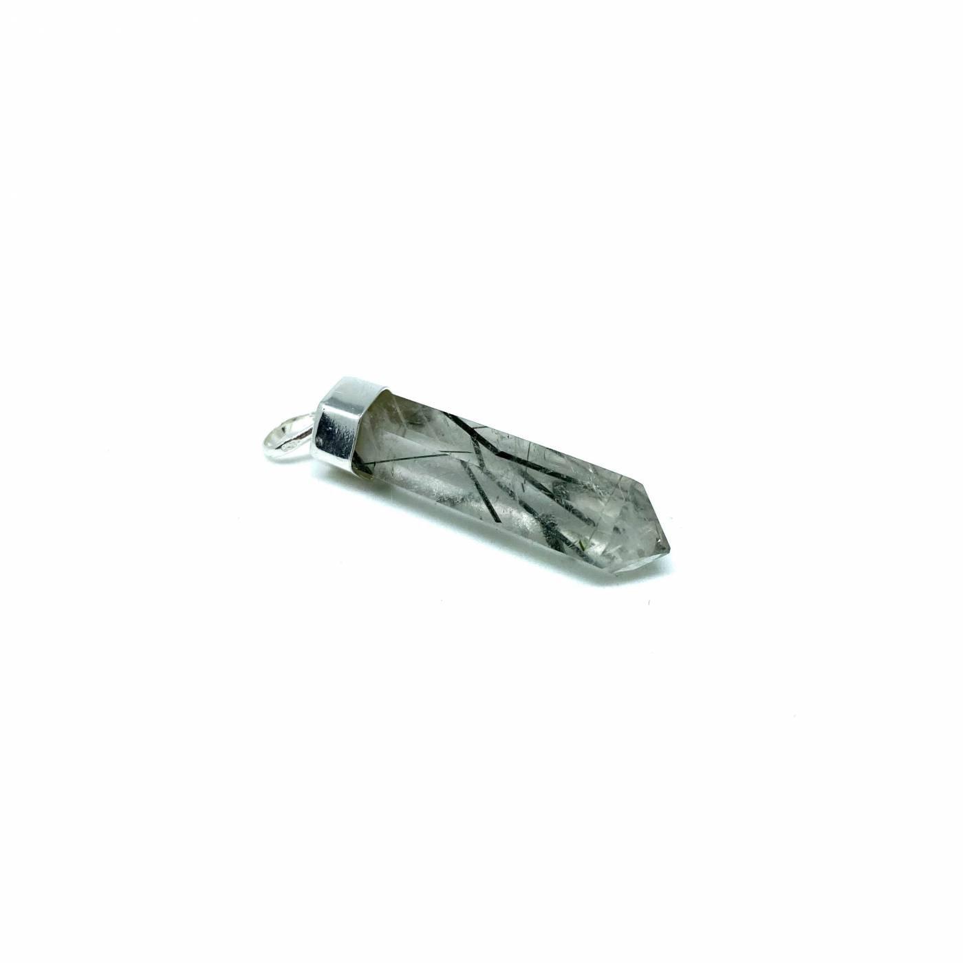 Pingente de Prata Ponta Cristal Quartzo Turmalinado Simples