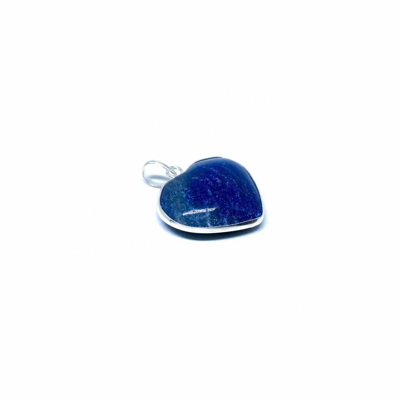 Pingente de Prata Quartzo Azul Coração