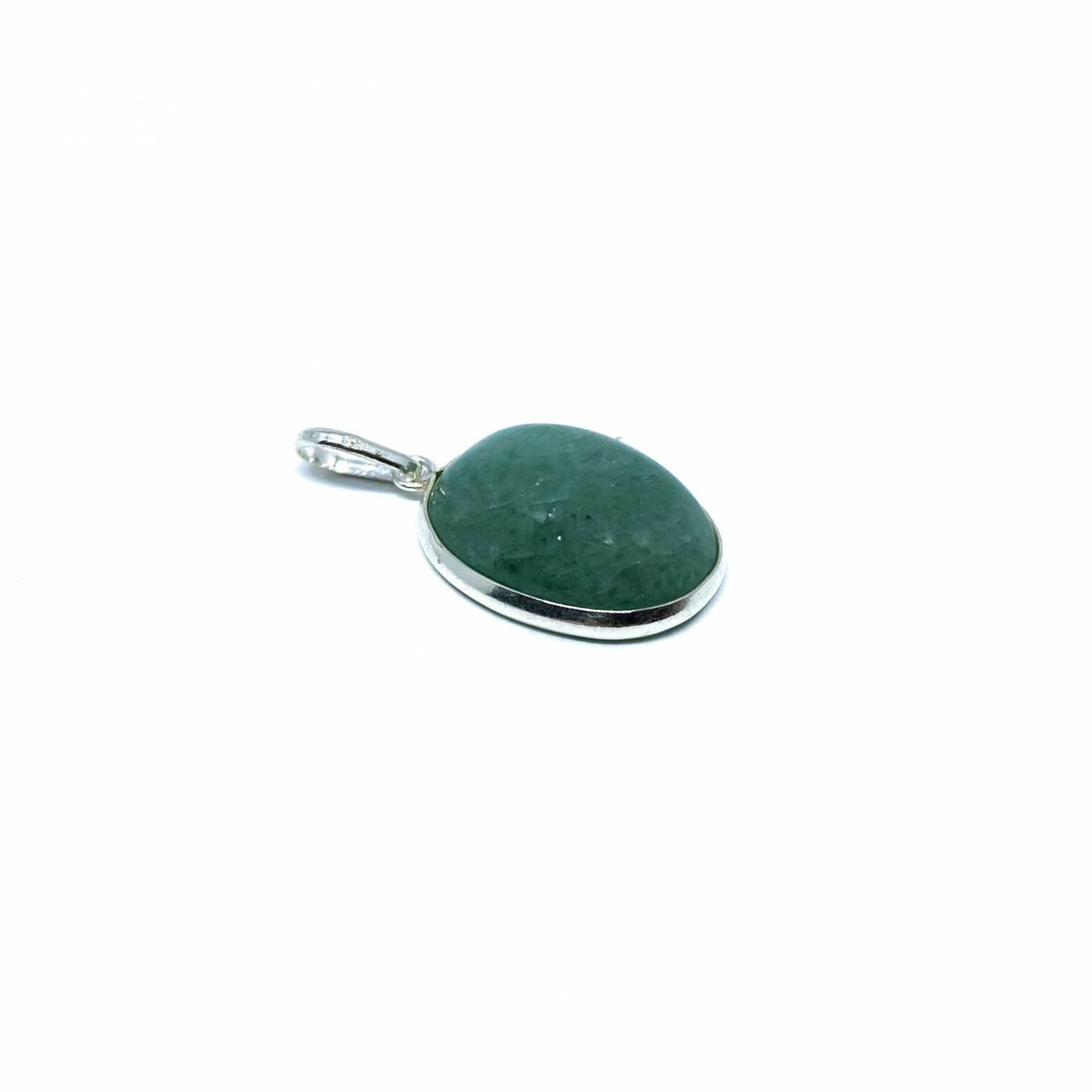 Pingente de Prata Quartzo Verde Oval Pequeno
