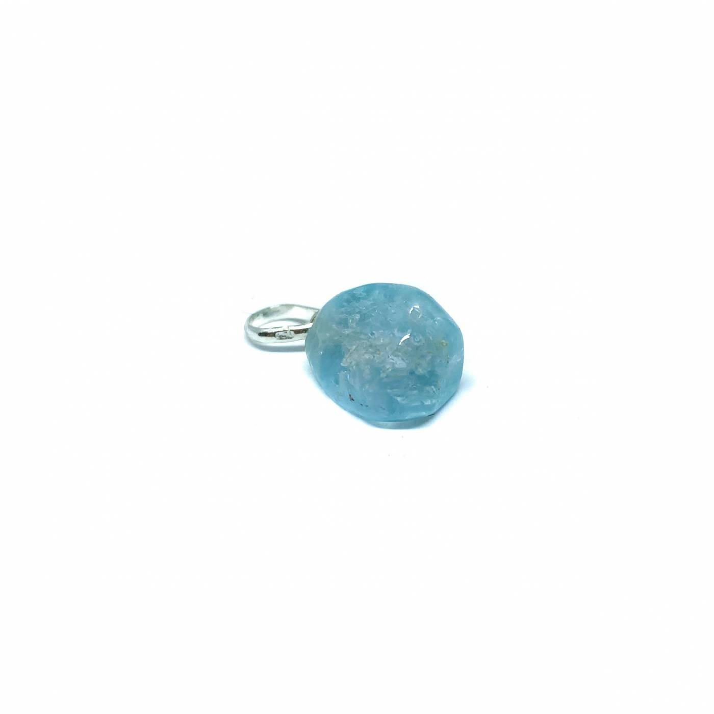 Pingente de Prata Topazio Azul Bruto