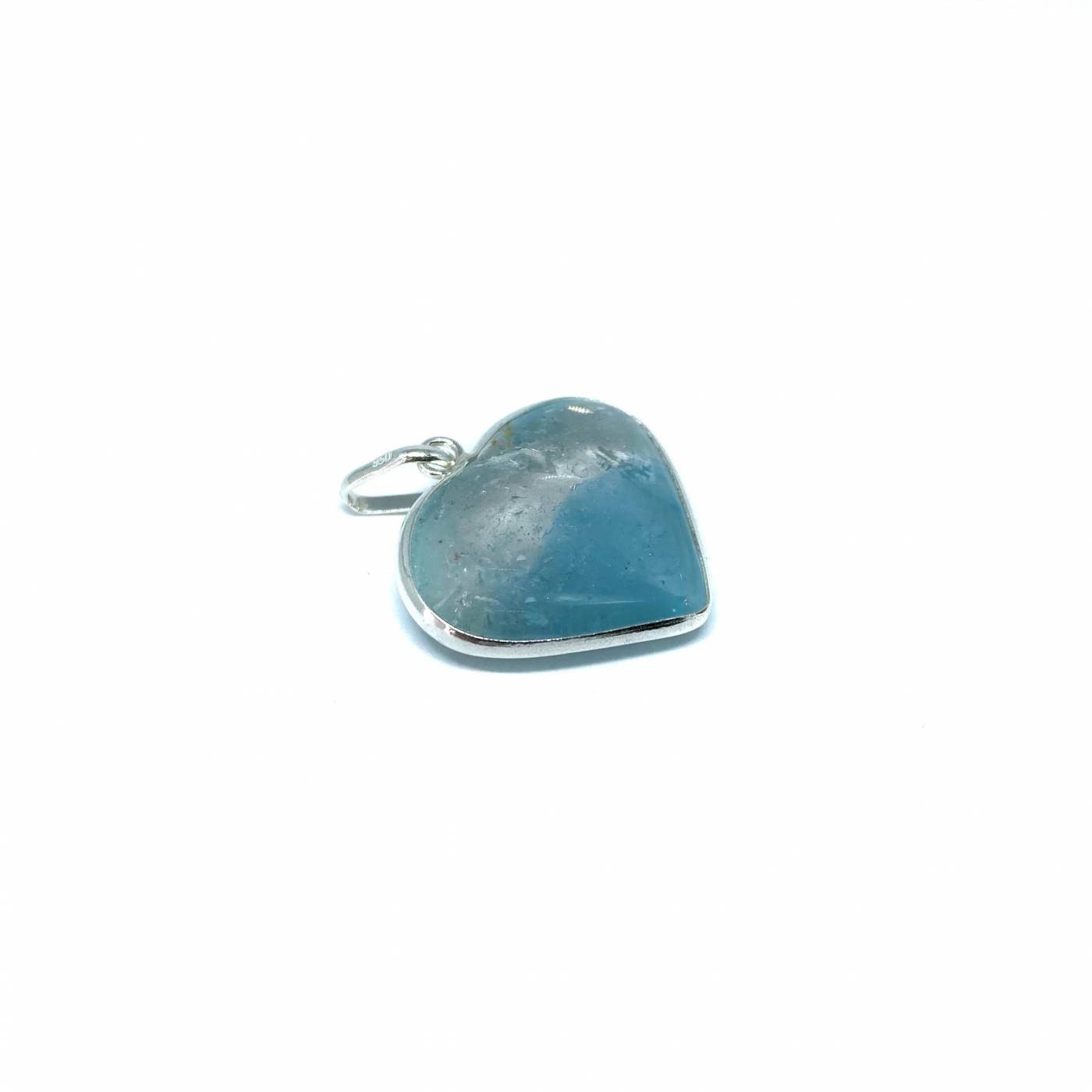 Pingente de Prata Topazio Azul Coração