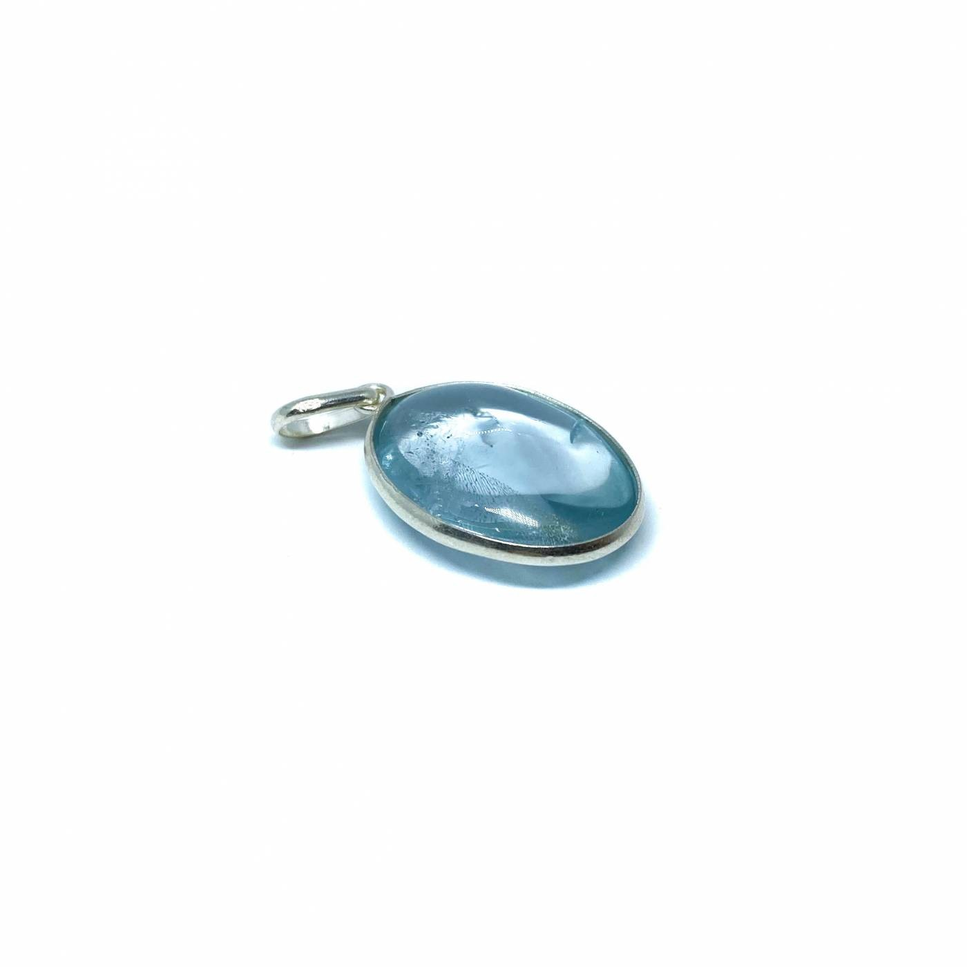 Pingente de Prata Topazio Azul Oval