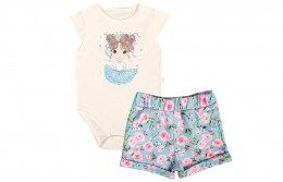 Conjunto Body Manga Curta + Shorts - Azul