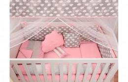 Kit Berço 10 peças Pedacinho Do Céu Rosa