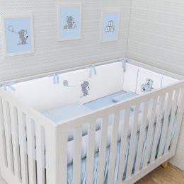 Kit Berço Slim Lembranças De Infância Azul