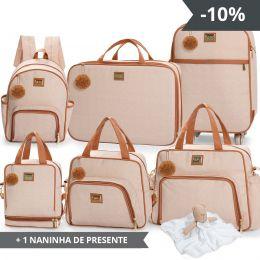 Kit bolsas 6 peças linha Barcelona cor bege + 1 NANINHA GRÁTIS