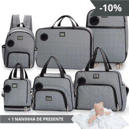 Kit bolsas 6 peças linha Barcelona cor mescla/preta + 1 NANINHA GRÁTIS
