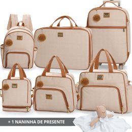 Kit bolsas completo linha Barcelona cor bege + 1 naninha Grátis