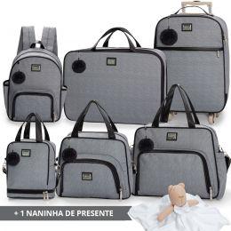 Kit bolsas completo linha Barcelona cor mescla/preta + 1 naninha Grátis