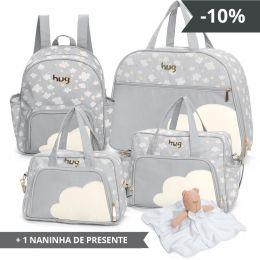 kIT de bolsas 4 peças linha Bichos cor cinza + 1 NANINHA GRÁTIS