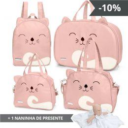 Kit de bolsas 4 peças linha Bichos cor Rosa + 1 NANINHA GRÁTIS
