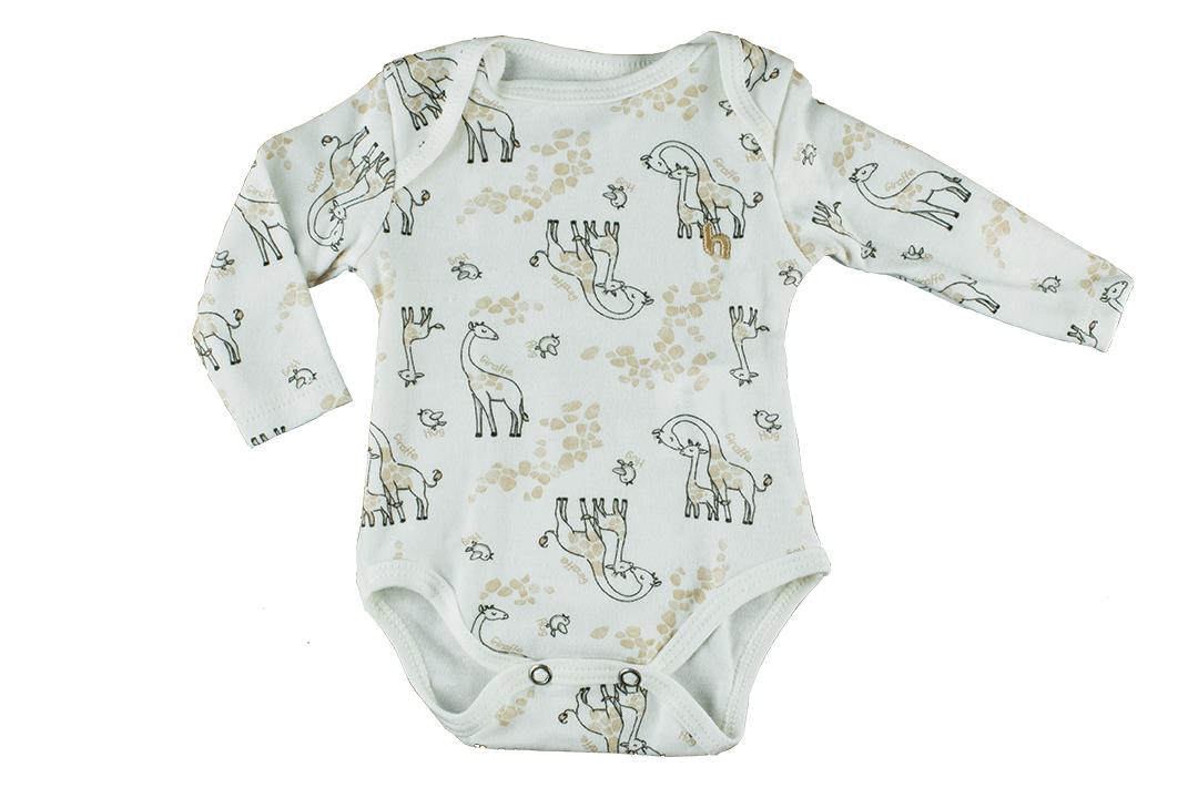 Body Manga Longa Estampado - Girafas