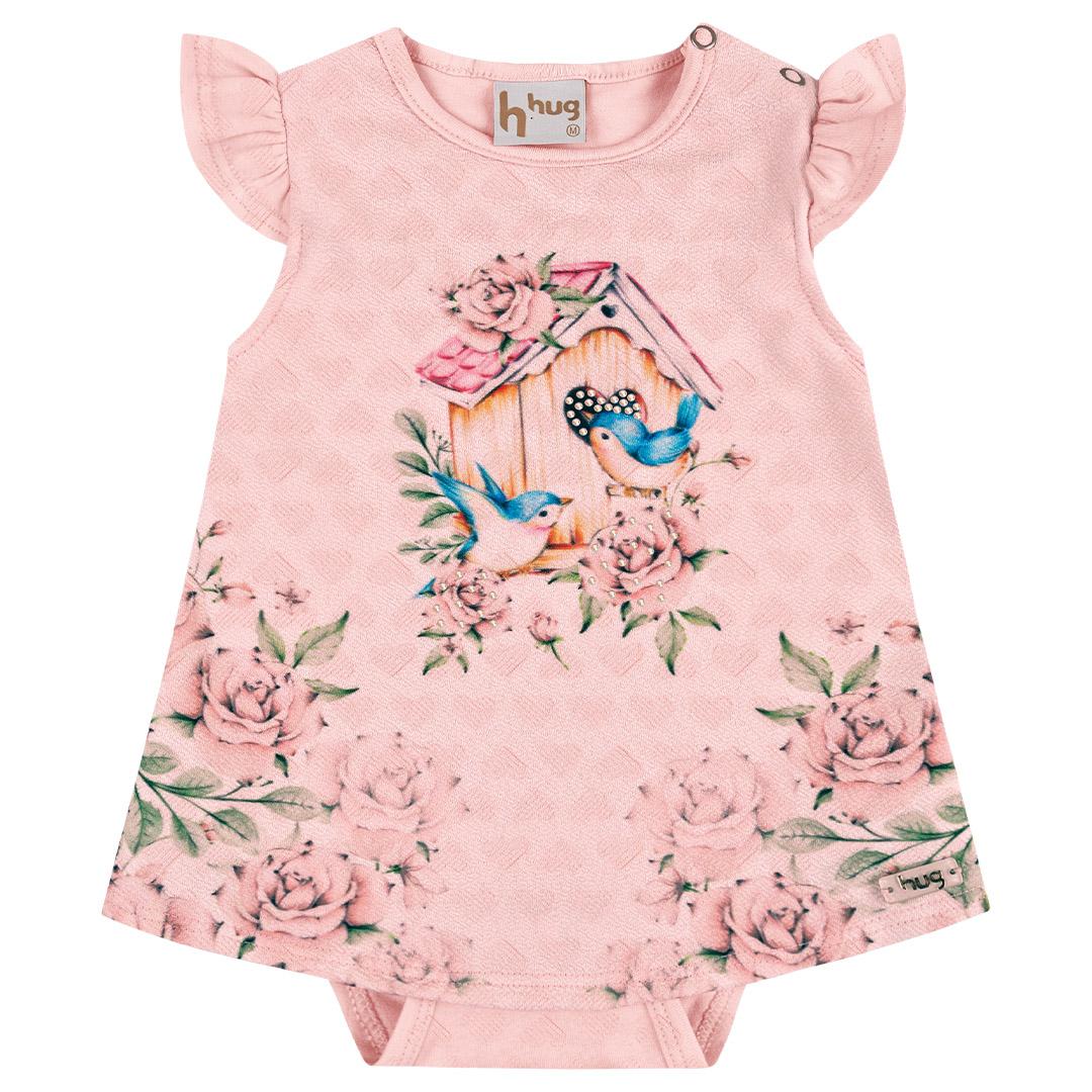 Body Vestido Bebê Floral Com Strass Rosa Claro - Hug