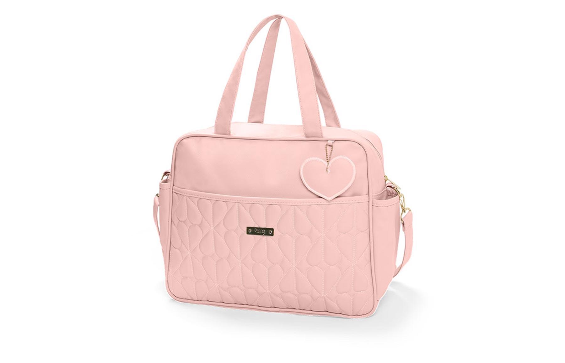 Bolsa maternidade grande Hug linha Curaçau rosa