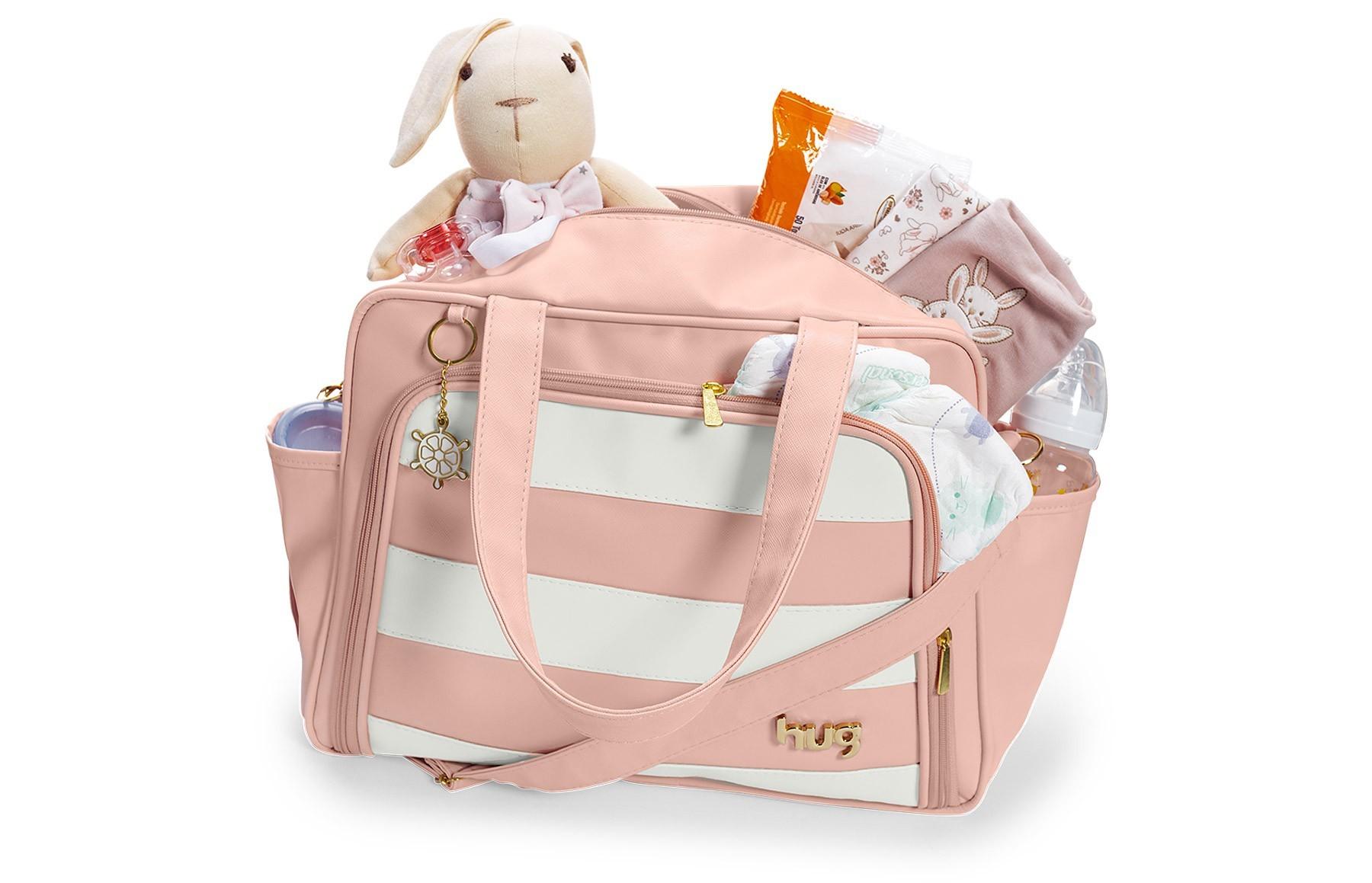Bolsa maternidade grande Hug linha Veneza rosa